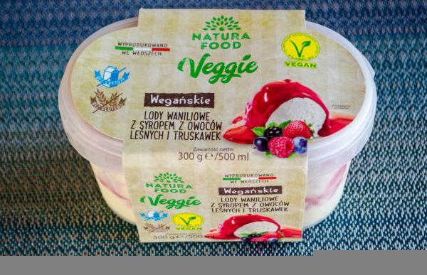 Natura Food. Veggie. Wegańskie lody waniliowe z syropem z owoców leśnych i truskawek
