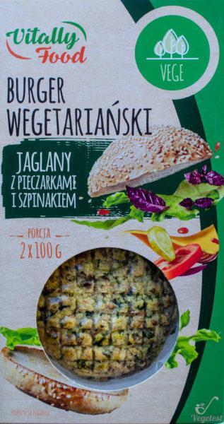 Vitally Food. Burger wegetariański jaglany z pieczarkami i szpinakiem