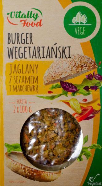 Vitally Food. Burger wegetariański jaglany z sezamem i marchewką