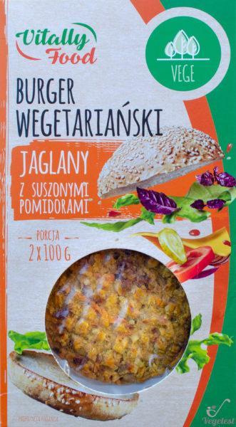 Vitally Food. Burger wegetariański jaglany z suszonymi pomidorami