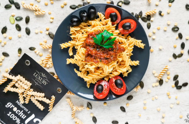 Luxury food. Makaron z grochu wegański blog
