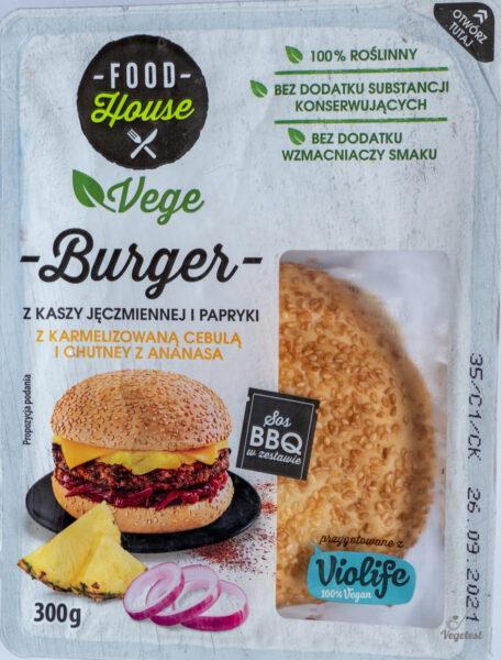 Food House. Vege Burger z kaszy jęczmiennej i papryki